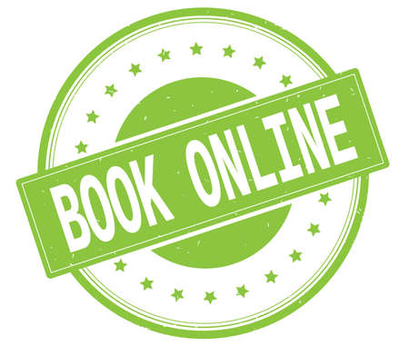 marca libros: BOOK ONLINE text, on round vintage rubber stamp sign with stars, green color.