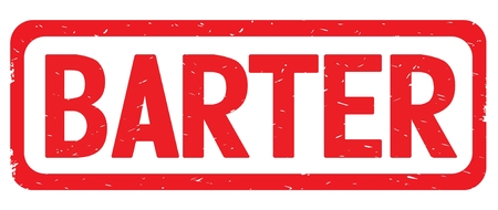 BARTER text, on red border rectangle vintage textured stamp sign with round corners.