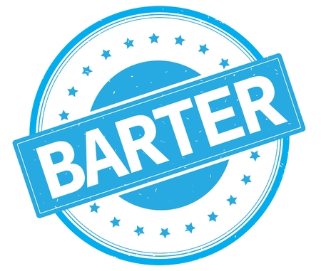 BARTER text, on round vintage rubber stamp sign with stars, cyan color. Stock Photo