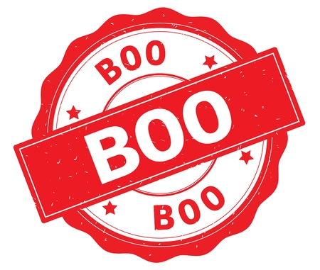 BOO text, written on red, lacey border, round vintage textured badge stamp.