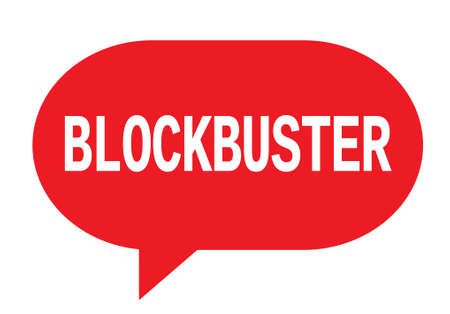 BLOCKBUSTER text in red speech bubble simple sign with rounded corners.