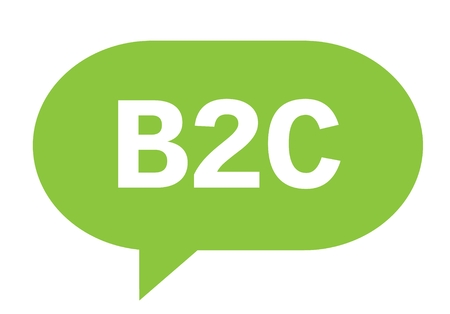 B2C text in green speech bubble simple sign with rounded corners.