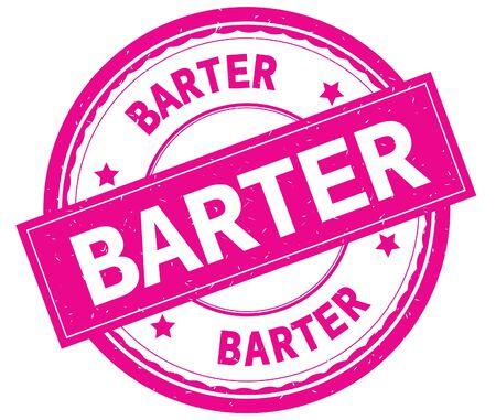BARTER , written text on pink round rubber vintage textured stamp. Stock Photo