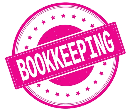 BOOKKEEPING text, on round vintage rubber stamp sign with stars, magenta pink color.