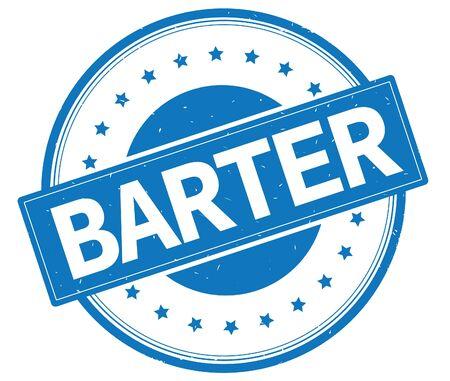 Testo di BARTER, sul segno di timbro di gomma vintage rotondo con stelle, colore blu. Archivio Fotografico - 89319076