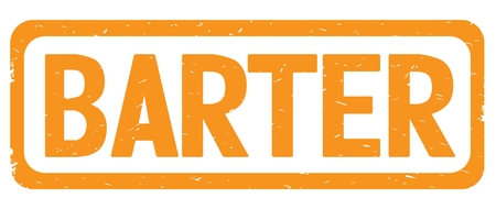 BARTER text, on orange border rectangle vintage textured stamp sign with round corners.