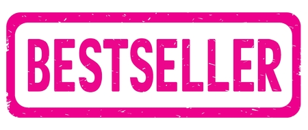 BESTSELLER text, on pink border rectangle vintage textured stamp sign with round corners.