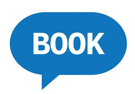 marca libros: BOOK text in blue speech bubble simple sign with rounded corners.