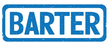 BARTER text, on blue border rectangle vintage textured stamp sign with round corners.