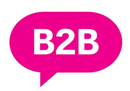 b2b: B2B text in pink speech bubble simple sign with rounded corners.