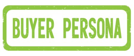 BUYER PERSONA text, on green border rectangle vintage textured stamp sign with round corners.