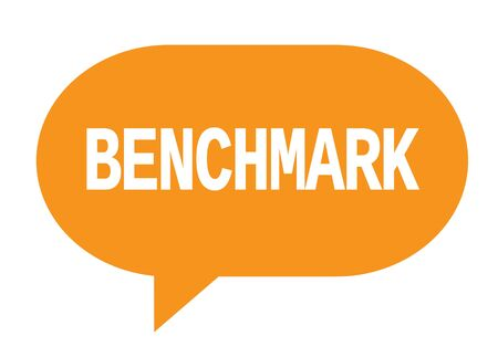 BENCHMARK text in orange speech bubble simple sign with rounded corners. Stock Photo