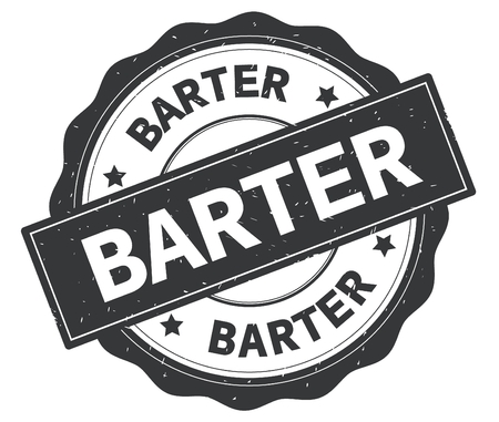 BARTER text, written on grey, lacey border, round vintage textured badge stamp. Stock Photo