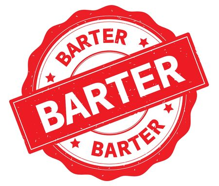 BARTER text, written on red, lacey border, round vintage textured badge stamp. Stock Photo