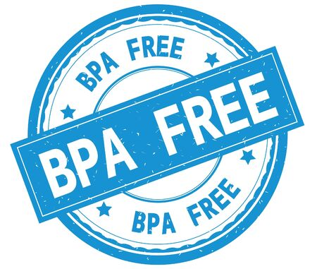 BPA FREE , written text on cyan round rubber vintage textured stamp.