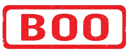BOO text, on red border rectangle vintage textured stamp sign with round corners.