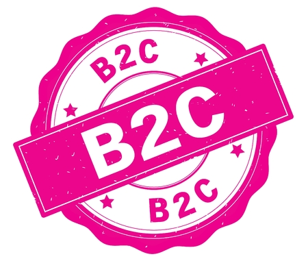 B2C text, written on pink, lacey border, round vintage textured badge stamp. Stock Photo