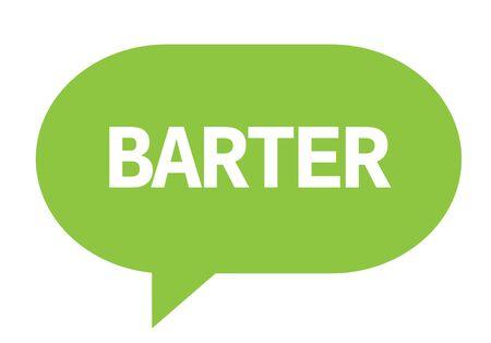 Testo BARTER in verde fumetto semplice segno con angoli arrotondati. Archivio Fotografico - 89319891