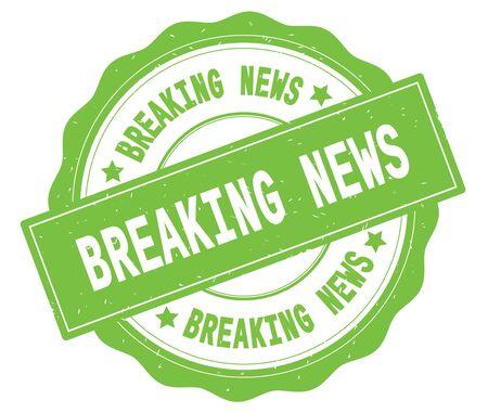 緑、レースの境界線、ラウンドヴィンテージテクスチャバッジスタンプに書かれたBREAKING NEWSテキスト。