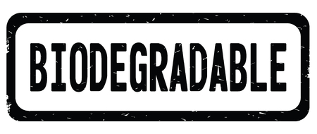 BIODEGRADABLE text, on black border rectangle vintage textured stamp sign with round corners.