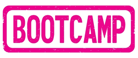 BOOTCAMP text, on pink border rectangle vintage textured stamp sign with round corners. Stock Photo
