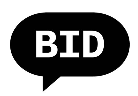 BID text in black speech bubble simple sign with rounded corners.