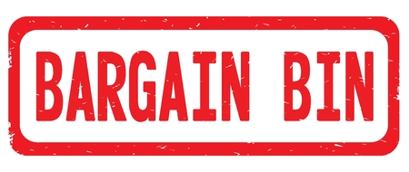 BARGAIN BIN text, on red border rectangle vintage textured stamp sign with round corners.