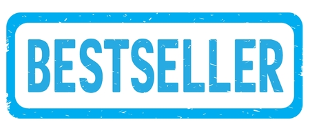 BESTSELLER text, on cyan border rectangle vintage textured stamp sign with round corners. Stock Photo