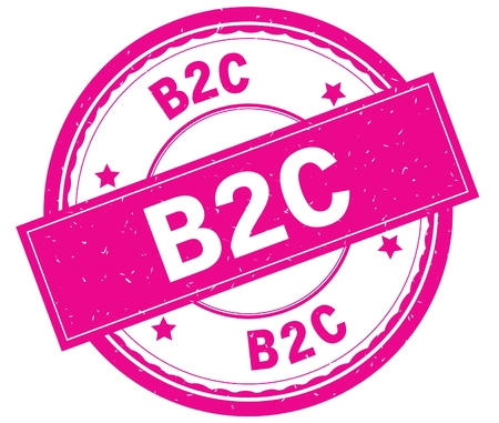 B2C , written text on pink round rubber vintage textured stamp. Stock Photo