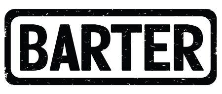 Testo di BARTER, sul rettangolo di bordo nero vintage timbro con texture segno con angoli arrotondati. Archivio Fotografico - 89355852