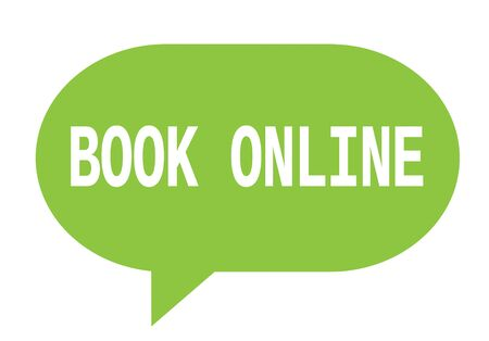 marca libros: BOOK ONLINE text in green speech bubble simple sign with rounded corners.