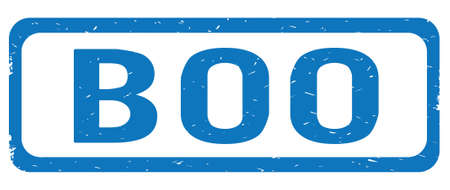 BOO text, on blue border rectangle vintage textured stamp sign with round corners.
