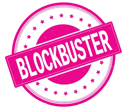 BLOCKBUSTER text, on round vintage rubber stamp sign with stars, magenta pink color. Stock Photo