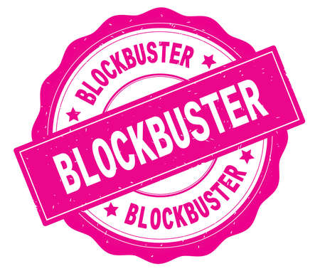 BLOCKBUSTER text, written on pink, lacey border, round vintage textured badge stamp. Stock Photo