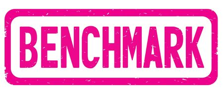 BENCHMARK text, on pink border rectangle vintage textured stamp sign with round corners.