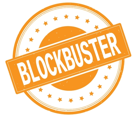 BLOCKBUSTER text, on round vintage rubber stamp sign with stars, orange color.