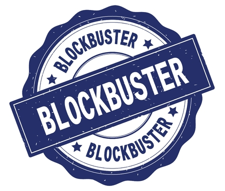 BLOCKBUSTER text, written on blue, lacey border, round vintage textured badge stamp.