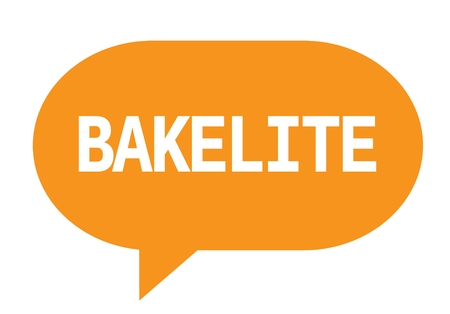 BAKELITE text in orange speech bubble simple sign with rounded corners.