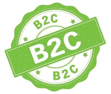 B2C text, written on green, lacey border, round vintage textured badge stamp.