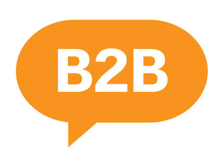 b2b: B2B text in orange speech bubble simple sign with rounded corners. Foto de archivo