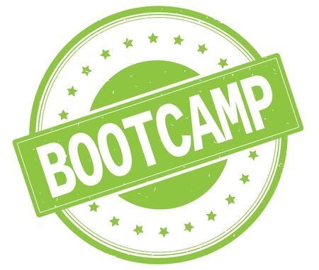 BOOTCAMP text, on round vintage rubber stamp sign with stars, green color.