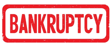 BANKRUPTCY text, on red border rectangle vintage textured stamp sign with round corners.