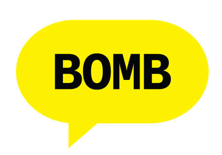 BOMB text in yellow speech bubble simple sign with rounded corners. Stock Photo