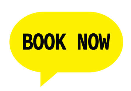 marca libros: BOOK NOW text in yellow speech bubble simple sign with rounded corners. Foto de archivo