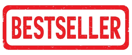 BESTSELLER text, on red border rectangle vintage textured stamp sign with round corners.