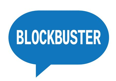 BLOCKBUSTER text in blue speech bubble simple sign with rounded corners.