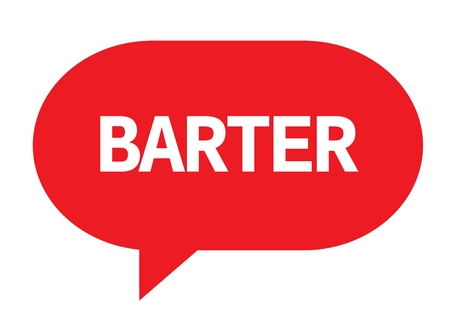 BARTER text in red speech bubble simple sign with rounded corners.