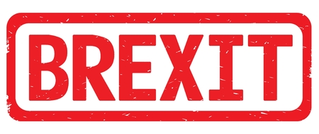 BREXIT text, on red border rectangle vintage textured stamp sign with round corners.