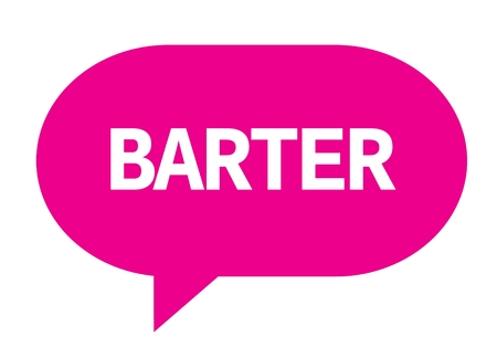 BARTER text in pink speech bubble simple sign with rounded corners. Stock Photo