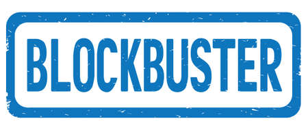 BLOCKBUSTER text, on blue border rectangle vintage textured stamp sign with round corners. Stock Photo